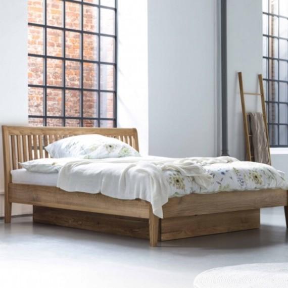 Łóżko dębowe z pojemnikiem Sofia 140x200