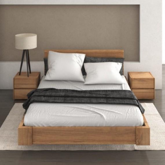 Łóżko bukowe 140x200 z pojemnikiem BOHO LIFT