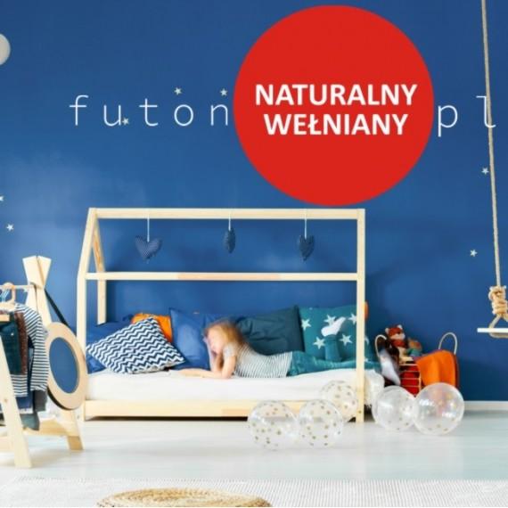 Futon naturalny, wełniany dla dzieci - średniotwardy, niesprężysty